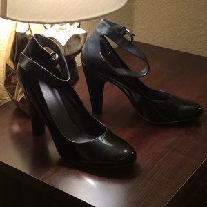 Leather/Man Made Nine West Black Ankle Strap Heels